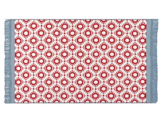 Bonnie Saçaklı Dokuma Kilim - Kırmızı / Mavi - 80x150 cm