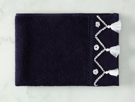 Madie Kroşeli Yüz Havlusu - Lacivert / Beyaz - 50x70 cm
