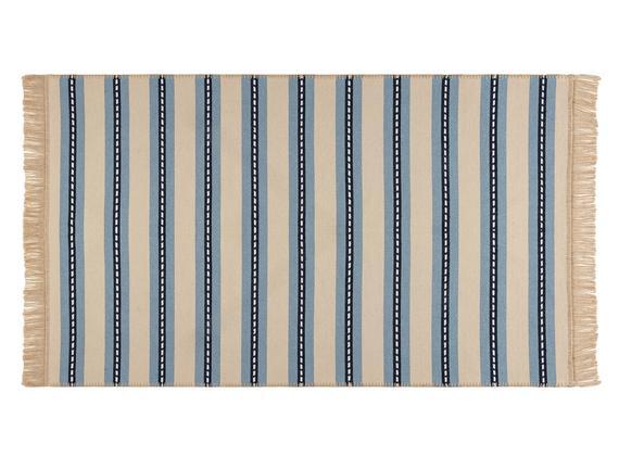 Leonore Saçaklı Dokuma Kilim - Bej / Mavi - 60x100 cm