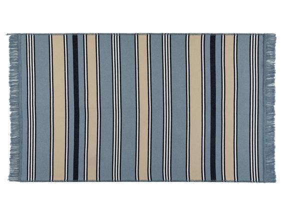 Delmare Saçaklı Dokuma Kilim - Mavi / Bej - 60x100 cm