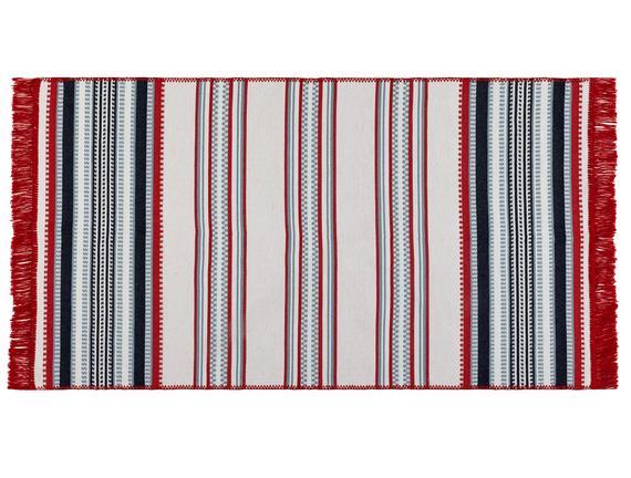 Trinetta Saçaklı Dokuma Kilim - Kırmızı / Mavi - 60x100 cm