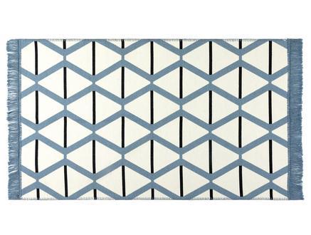 Aluin Saçaklı Dokuma Kilim - Mavi / Lacivert - 60x100 cm