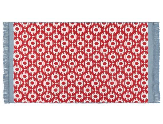 Bonnie Saçaklı Dokuma Kilim - Kırmızı / Mavi - 60x100 cm