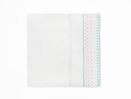 Karla Yüz Havlusu - Beyaz / Turkuaz - 50x76 cm