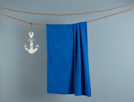 Ancelina Jakarlı Plaj Havlusu - Koyu Mavi - 75x150 cm