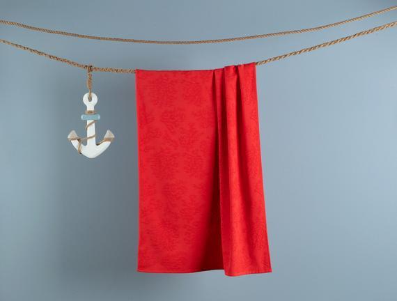 Ancelina Jakarlı Plaj Havlusu - Kırmızı - 75x150 cm