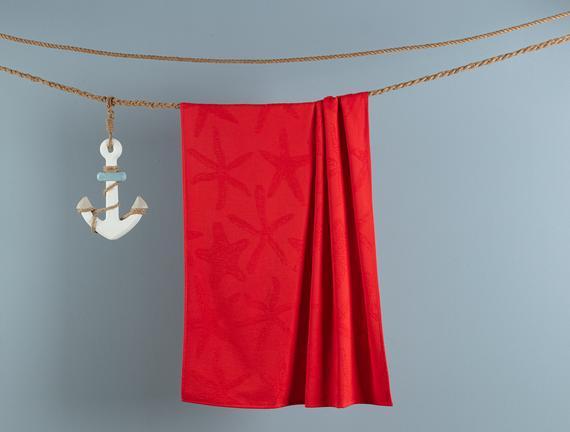 Cadencia Jakarlı Plaj Havlusu - Kırmızı - 75x150 cm