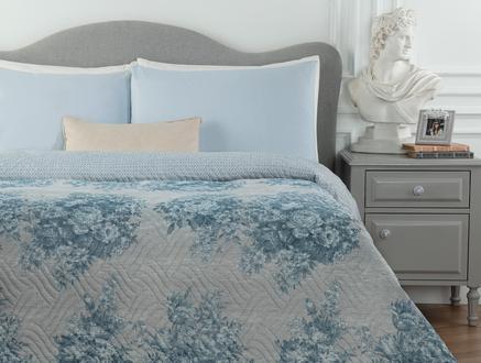 Histone Çift Kişilik Baskılı Yatak Örtüsü - Mavi
