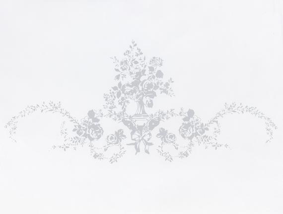 Çiçek Desen Baskılı Hurç - Beyaz / Gri