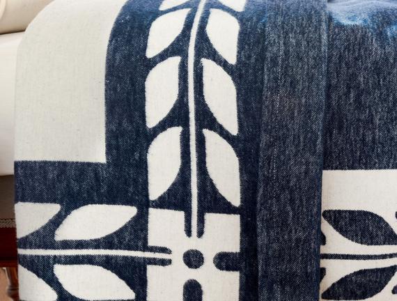 Marita Tek Kişilik Dokuma  Battaniye - Lacivert