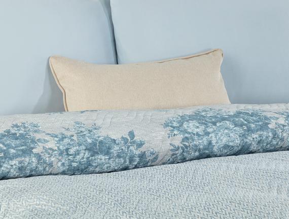 Histone Tek Kişilik Baskılı Yatak Örtüsü - Mavi
