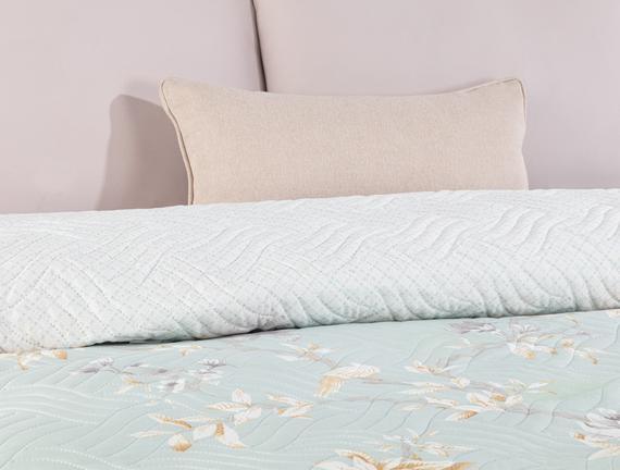 Pons Çift Kişilik Baskılı Yatak Örtüsü - Mint / Bej