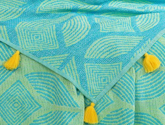 Cateline Tek Kişilik Yatak Örtüsü - Mavi / Yeşil