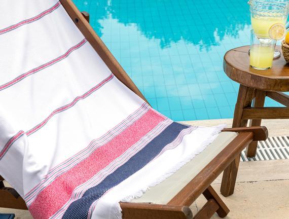 Cannes Armürlü Plaj Havlusu - Mercan / Lacivert - 75x150 cm