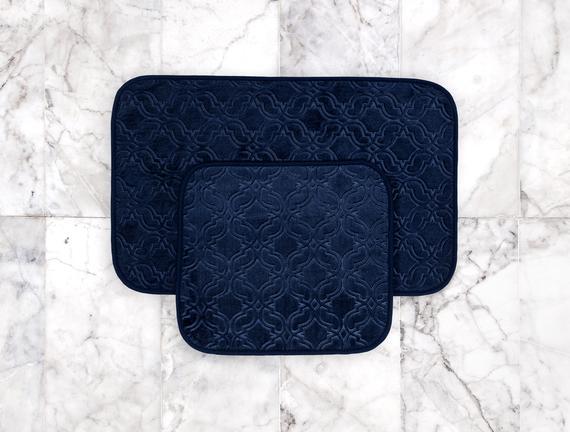 Prunella 2'li Banyo Paspası - Indigo - 50x80 + 45x50 cm