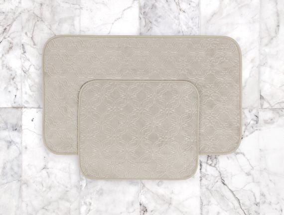 Prunella 2'li Banyo Paspası - Bej - 60x100 + 50x60 cm