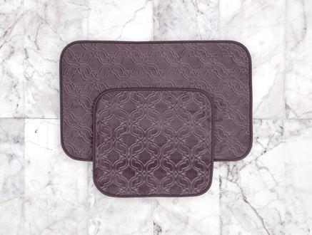 Prunella 2'li Banyo Paspası - Koyu Mürdüm - 50x80 + 45x50 cm