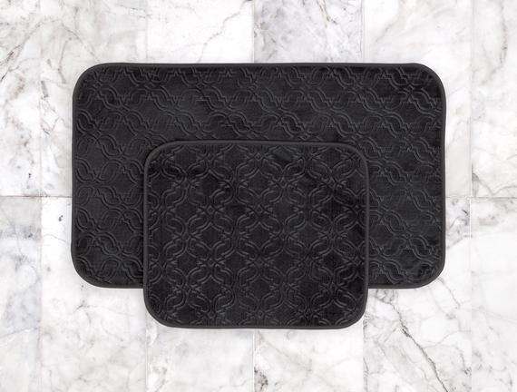 Prunella 2'li Banyo Paspası - Antrasit - 60x100 + 50x60 cm