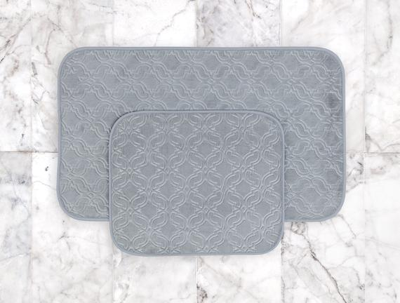 Prunella 2'li Banyo Paspası - Açık Mavi - 60x100 + 50x60 cm
