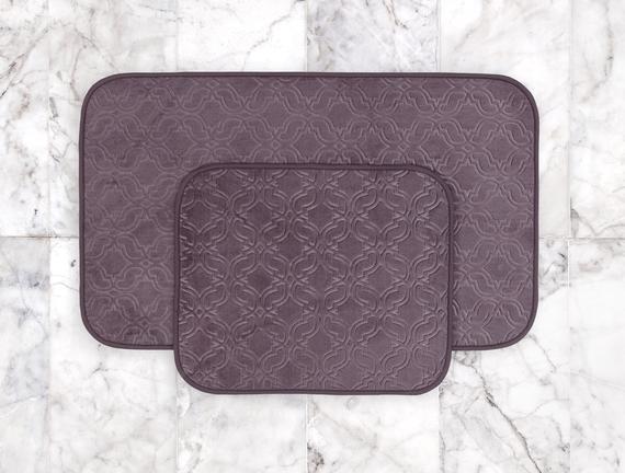 Prunella 2'li Banyo Paspası - Koyu Mürdüm - 60x100 + 50x60 cm
