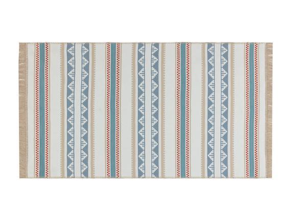 Lacene Saçaklı Dokuma Kilim - Bej / Mavi - 80x150 cm