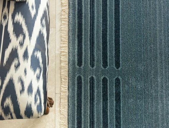 Orient Elodie Halı - Açık Mavi / Koyu Mavi - 120x170 cm