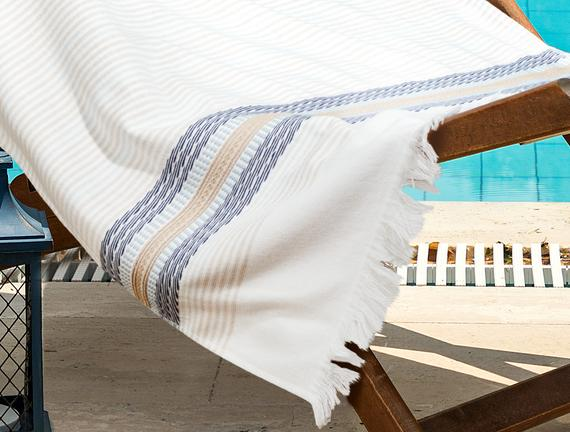 Nice Armürlü Plaj Havlusu - Gri / Bej - 75x150 cm