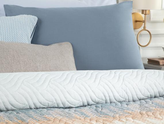 Buiron Çift Kişilik Baskılı Yatak Örtüsü - Mavi /  Gri