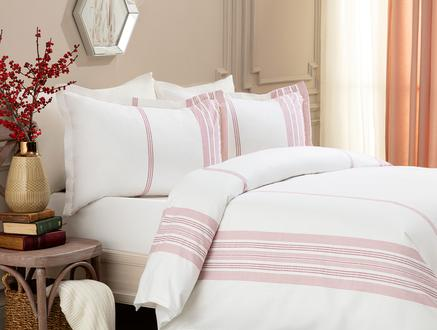 Leora Double-Size Flaxen Look Duvet Cover Set - Red