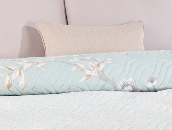 Pons King Size Baskılı Yatak Örtüsü - Mint / Bej