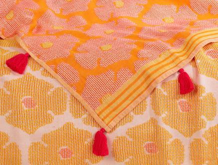 Amelie Tek Kişilik Yatak Örtüsü - Sarı / Pembe