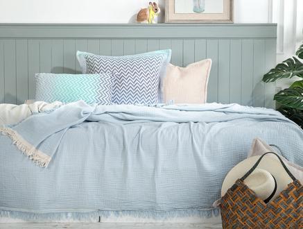 Florinda  Çift Kişilik Müslin Yatak Örtüsü - Mavi