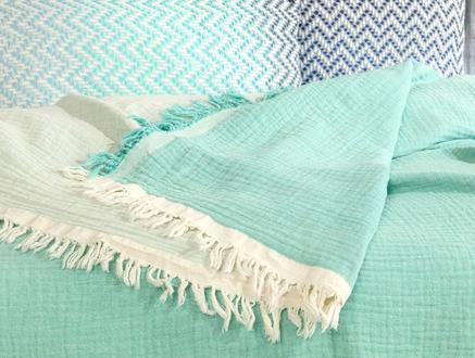 Florinda  Çift Kişilik Müslin Yatak Örtüsü - Mint Yeşili