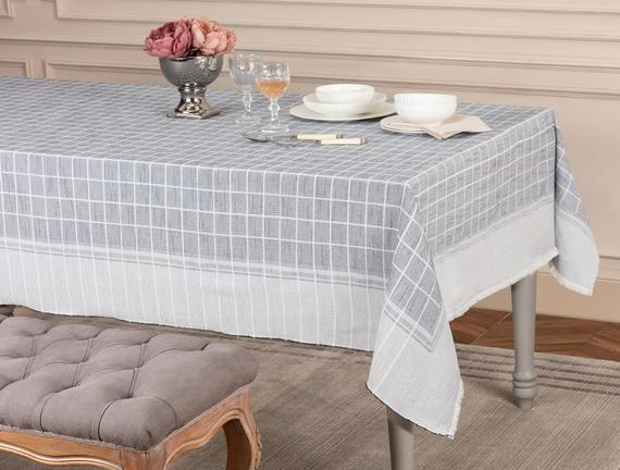 Mita Flamlı Masa Örtüsü - Lacivert - 160x160 cm