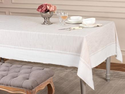 Mita Flamlı Masa Örtüsü - Bej - 160x300 cm