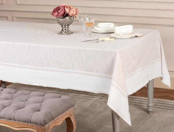 Chiara Flamlı Masa Örtüsü - Bej - 160x160 cm