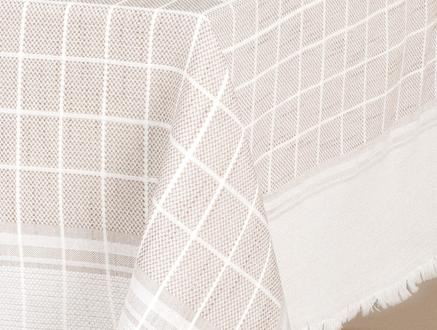 Mita Flamlı Masa Örtüsü - Bej - 160x160 cm