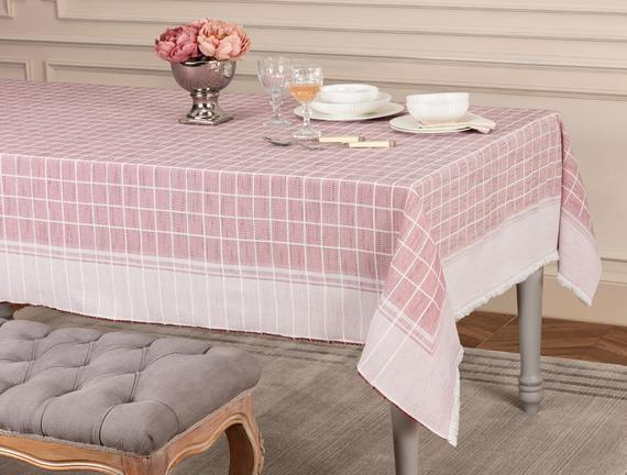 Mita Flamlı Masa Örtüsü - Kırmızı - 160x160 cm