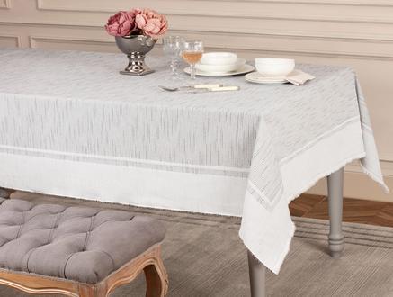 Chiara Flamlı Masa Örtüsü - Gri - 160x160 cm
