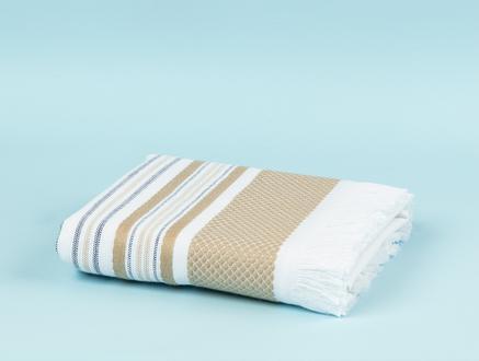 Prunella Armürlü Yüz Havlusu - Beyaz / Bej - 50x76 cm