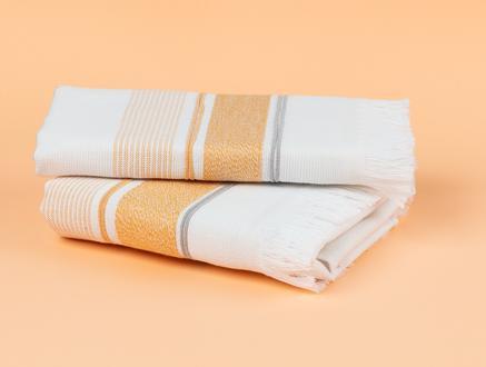 Orane Armürlü Yüz Havlusu - Beyaz / Sarı - 50x76 cm