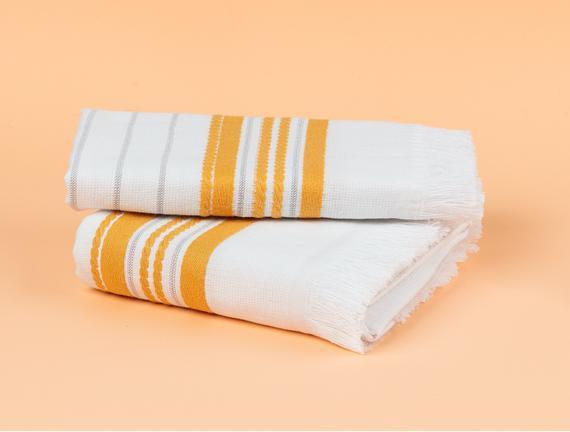 Evony Armürlü El Havlusu - Beyaz / Sarı - 30x45 cm