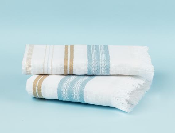 Cadence Armürlü El Havlusu - Beyaz / Mavi - 30x45 cm