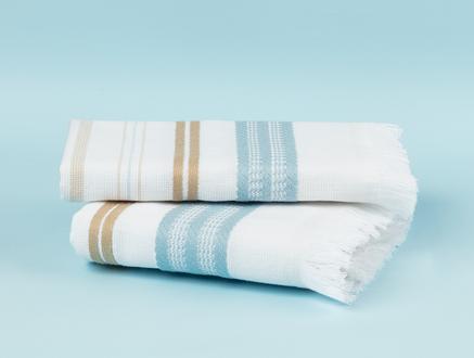 Cadence Armürlü Yüz Havlusu - Beyaz / Mavi - 50x76 cm