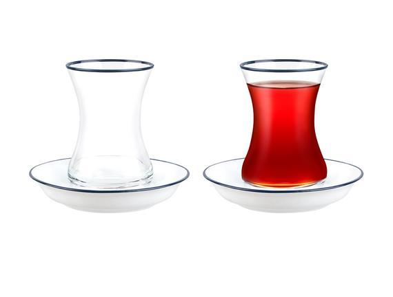 Yolande 8'li Çay Seti - Ağız Koyu Lacivert
