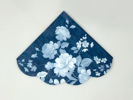 Lacivert Çiçek Desenli Peçete - Yuvarlak
