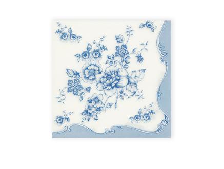 Mavi Çiçekler Desenli Peçete - Kare