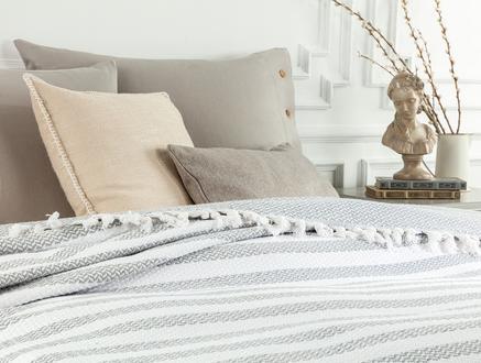 Sheryl Çift Kişilik Yıkamalı Yatak Örtüsü - Beyaz / Gri