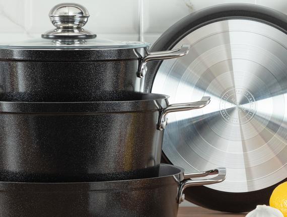 Titanium Professional Tencere Seti 7 Parça - Siyah