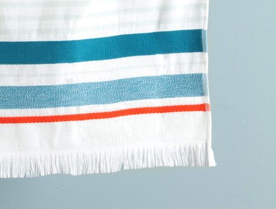 Adalie Armürlü Plaj Havlusu - Mavi / Mint - 75x150 cm